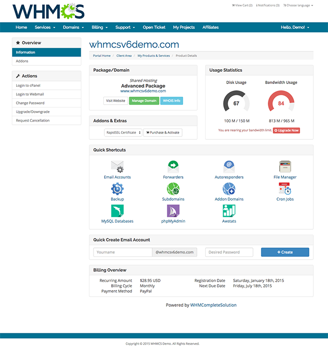CPanel Single Sign-On - WHMCS Documentation
